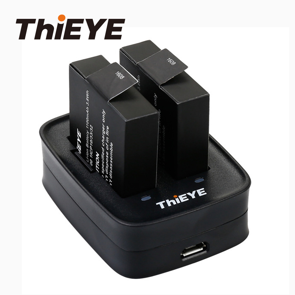 Dual Battery Charger +Two 1100mAh Rechargeable Batteries For ThiEYE T5 Edge/T5 Pro/T5e/AKASO V50 Elite Action Camera Accessories