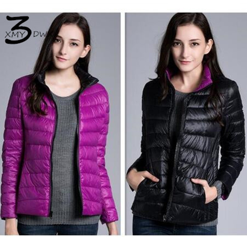 XMY3DWX fashion women in winter to keep warm 90% white duck   down   Stand collar   down   jacket/femininity Double sided   down     coat