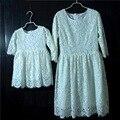 Марка белое кружево плюс большой размер плиссированные мать и девочек платья семья посмотрите партии юбки беременные женщины дети Вечернее платье