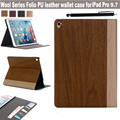 For Apple iPad Pro 9.7 Inch Tablet Ultra Slim Wood Grain Series PU Leather Folding Card Holder Design Magnetic Stand Case Cover