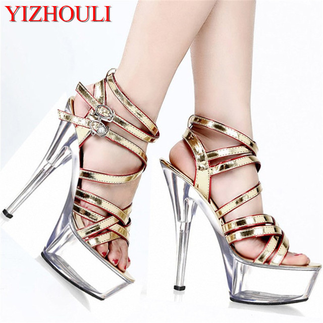 e5a03523e86 Hot Sale 15cm Crystal Sandals High-Heeled Shoes Platform Gladiator Dance  Shoes Sexy Women s Shoes Sexy Clubbing High Heel