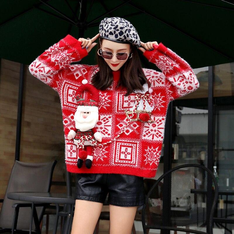 Czerwony świąteczny sweter z wystającym mikołajem w norweski wzór 3