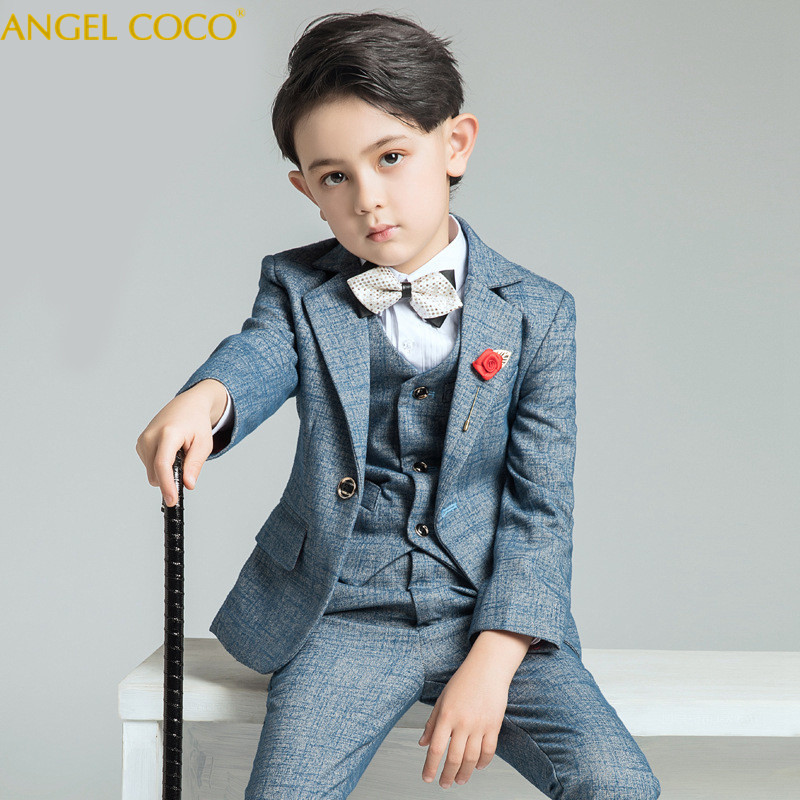 4 Piece Vest + Pants + Shirt + Bow Tie Nimble Suit For Boy Single Breasted Boys Suits For Weddings Costume Enfant Garcon Mariage недорго, оригинальная цена