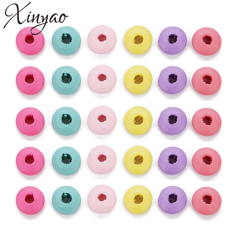 XINYAO 200pc 10X5mm Natural Colorful Wood Abacus Beads Saucer Loose Wood Beads Lentil Spacer Beads for DIY Jewelry Finding F7435