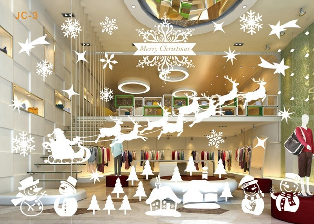 8 Styles 72cm*52cm Happy New Year Decorations Home Decor Store Wall Sticker  Decals PVC Christmas Glass Window Showcase Ornaments