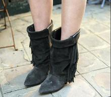 Hot Fashion Gray/Black/Black No Fringe/Black Suede Genuine Leather Mid-Calf Pointed Toe Mixed Color Women Shoe Fringe Boot