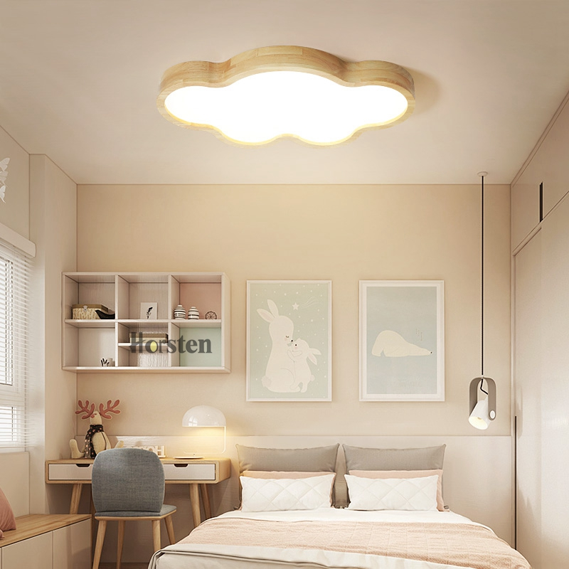 Japanese Style Room Ceiling Lights Cloud Shape LED Ceiling Light For Bedroom Kids Luminaire Cute Wooden Kitchen Lighting Fixture (5)
