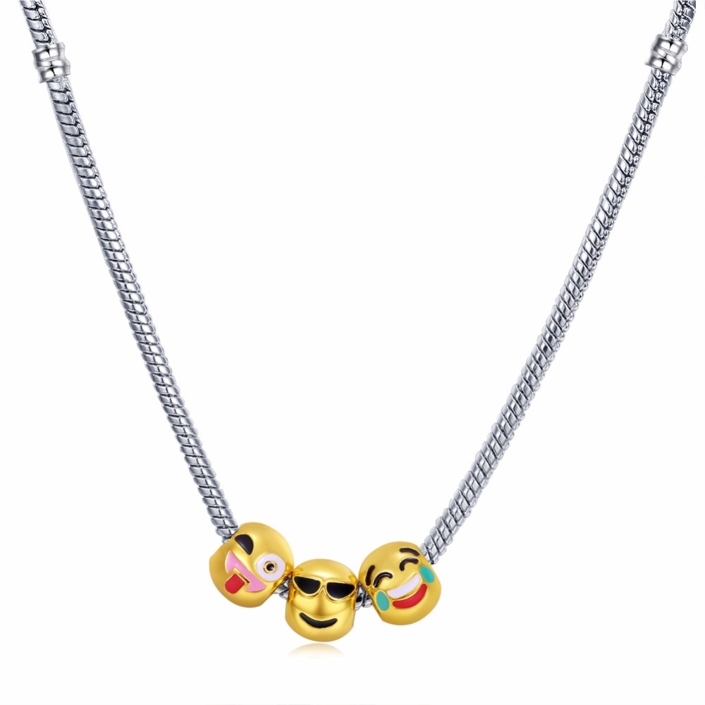 New Vintage Gold Color Alloy Necklace For Children 3/5/10pcs Laugh Face Shaped Pendant Necklace For Boys Girls Gift Cute Bohemia