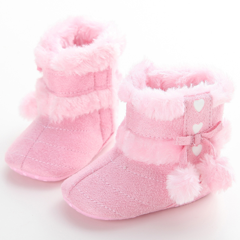 2017 Fashion Infant New Baby Shoes Newborn Winter Warm Snow Boots Shoes Girl Boy Crib Shoes Toddler Cute Pink Red White Shoes