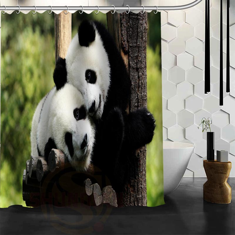 Custom Cute Baby Fantastic Panda Shower Curtain Waterproof Bathroom Fabric For Free Shipping