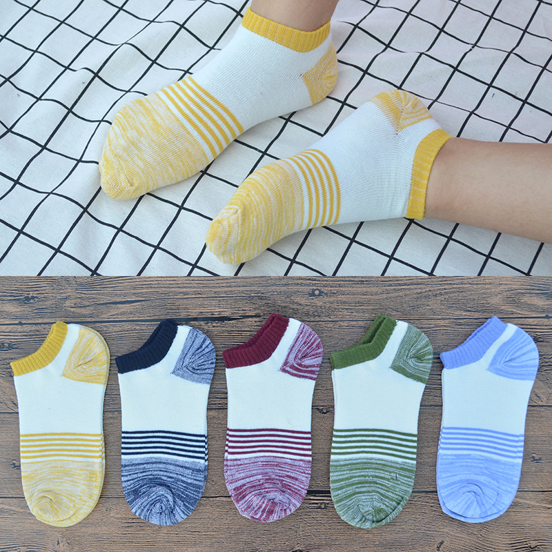 5 Pair/set Patchwork Striped Cotton Men Short Casual Socks Retro Mens Summer Short Ankle Socks with Gift Bag