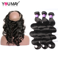 Body Wave 3 Human Hair Bundles With Closure 360 Lace Frontal With Bundle Peruvian Remy Hair Weave Bundles With Closure You May
