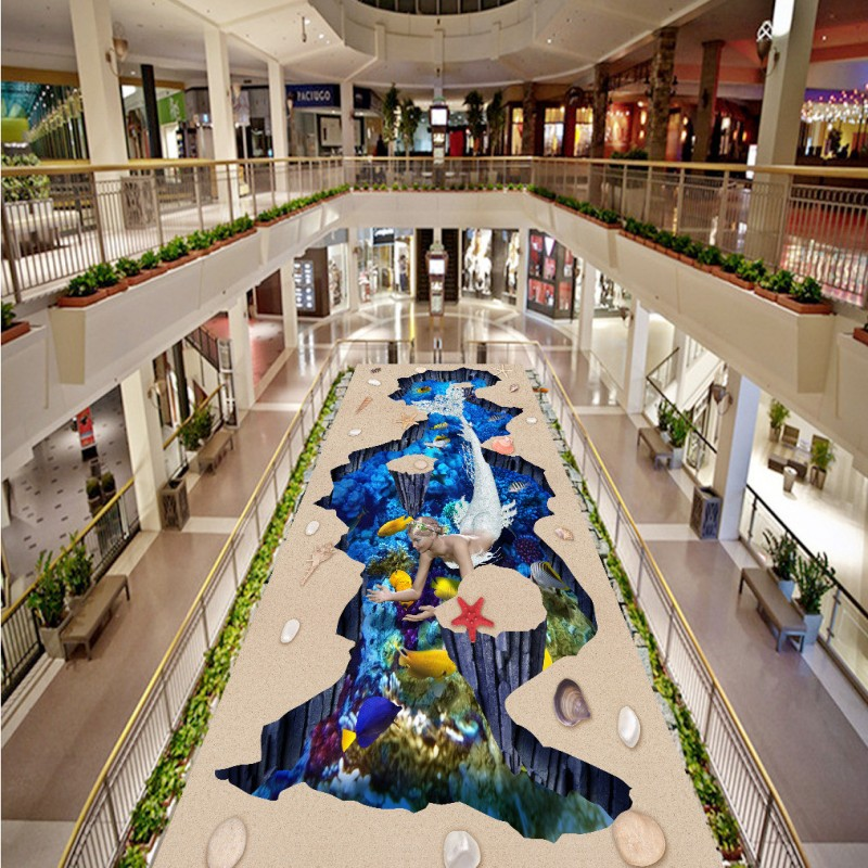 Free Shipping Custom Mermaid underwater world outdoor 3D flooring sticker wallpaper self-adhesive waterproof floor mural