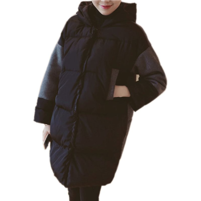 Maternity Coat New Arrive Black Stitching Hooded Cotton Padded Clothes Women Outerwear Parkas Maternity Winter Warm Clothing my03 stylish men s hooded tweed bump color warm cotton padded coat black grey size l