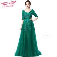 AnXin SH verde del merletto della principessa abito da sera sweetheart mezza manica bordare nastri perle rosa abito da sera abito da sera rosso