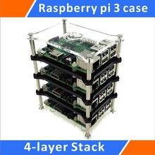 Wholesale Raspberry Pi 3 Model B 4-layer Stack Clear Case Support Raspberry Pi 2B/B+/B/A+