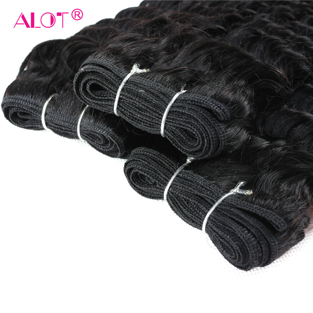 Alot Hair Vietnamese Deep Wave Bundles With Frontal Closure Human Hair Non Remy 13*4 Ear To Ear Lace Frontal With Bundles-in 3/4 Bundles with Closure from Hair Extensions & Wigs    2