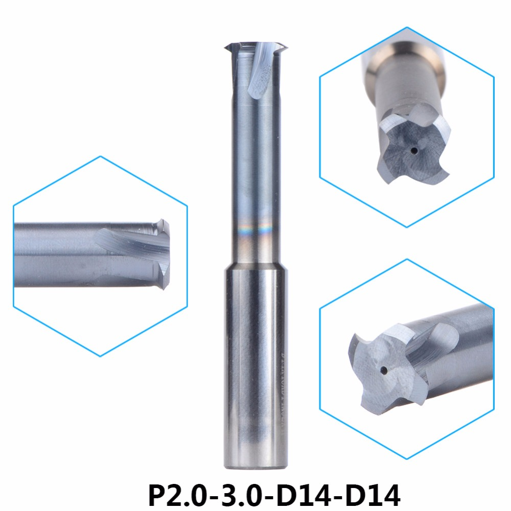 Tungsten Carbide Alloy Single Teeth Thread Milling CutterP2.0-3.0-D14-D14 threading end mill single tooth For Metric P2.0-3.0mm 1pc m5 0 8 10 57 4f tungsten carbide thread end mill m5 0 8 thread milling cutters with tialn coating metric 0 8mm pitch