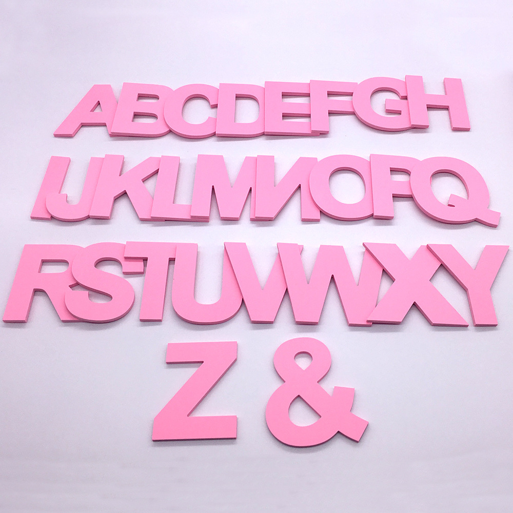 DIY 3D Pink Capital English Letters Wall Stickers Living Room Bedroom Background Wall Home Decor PVC Removable Wall Stickers