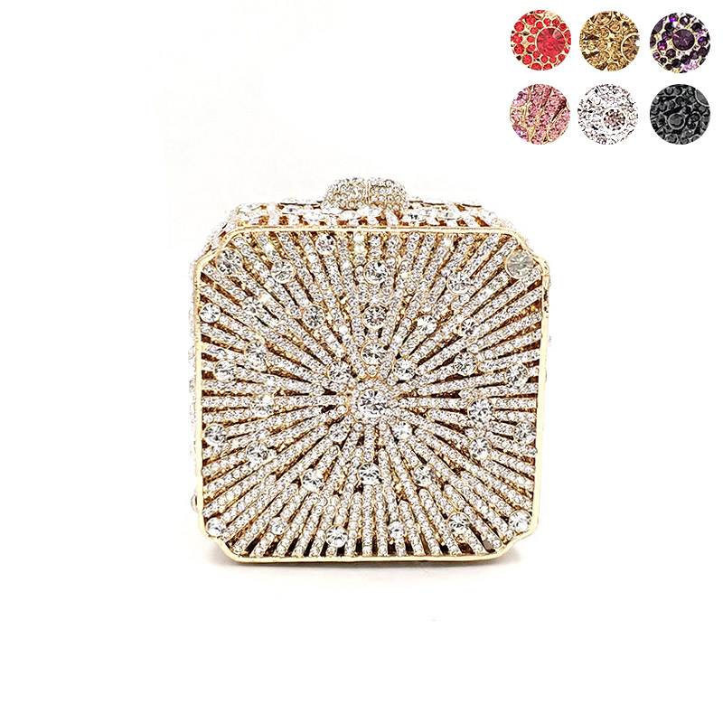 New Elegant women evening party small box diamonds luxury clutches vintage pattern crystal purses Bridal wedding