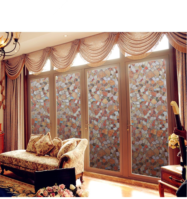 45*400cm Colored stones privacy window film, Anti-UV vinyl Frosted glass foil, static cling opaque self-adhesive sticker