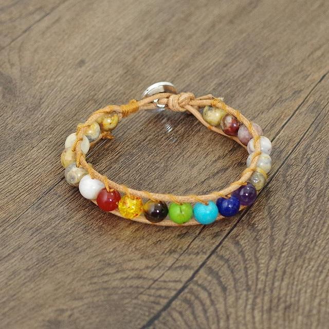 7 Chakra Leather Bracelet Crazy Onyx Stone Beads Yoga Healing Chakra Wrap Charm Bracelet Boho Women Fashion Party Jewelry Gift