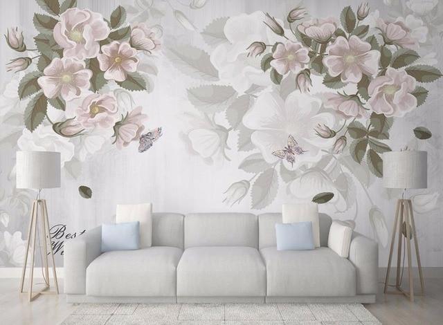 Custom Painting Wallpaper Pastoral Flower Modern Art Wallpapers Mural 3D Vinyl Living Room Wall Covering