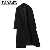 Black Women Long Wool Jacket Warm Coats 2019 Autumn Winter New Slim Temperament Overcoat Double Breasted Slim Casual Lady Coat