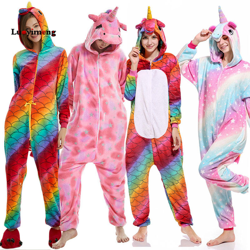 eede0700561a2f De las mujeres Pijamas nuevo Anime unicornio de franela ropa de dormir  Pijamas de punto con capucha Onesies Pijamas Homewear dibujos animados para  ...