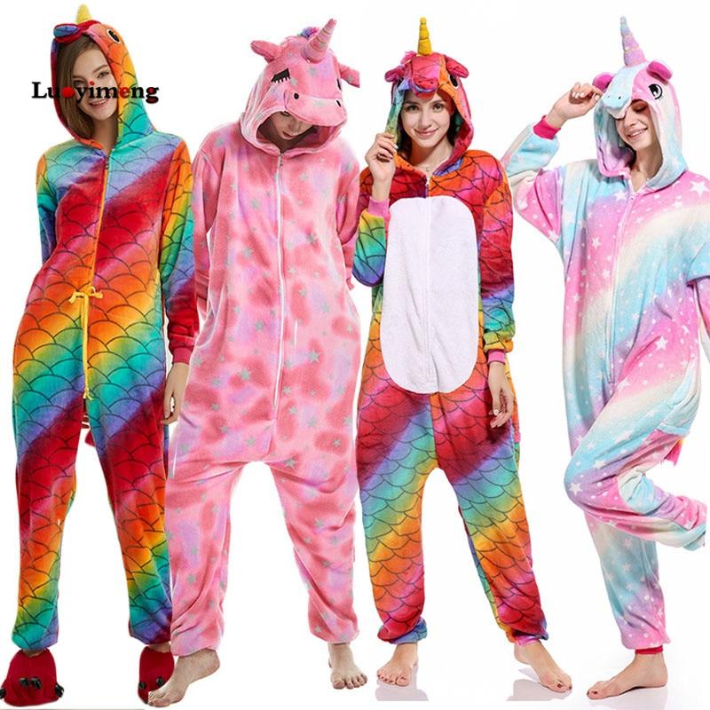 9b8bc136e6 De las mujeres Pijamas nuevo Anime unicornio de franela ropa de dormir  Pijamas de punto con capucha Onesies Pijamas Homewear dibujos animados para  adultos ...