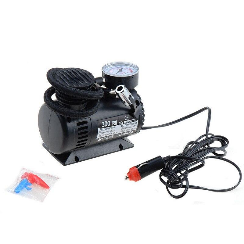 Black Mini 12V 300PSI Car Air Pump Tyre Compressor Portable Electric Car Air Pump Bike Type