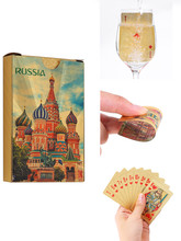 Plastic Playing Cards Waterproof Gold Durable Pokermon Gift Russia Game Card PVC Poker