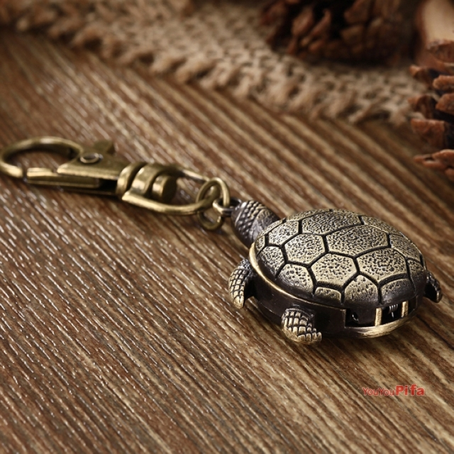 Small Cute Tortoise Relogio Bronze Alloy Keychain Quartz Pocket Watches Men Wome