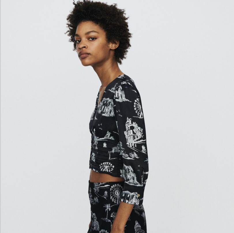 女性シャツショートスタイルのセクシーなヴィンテージカジュアルプリント新 2019 V ネック長袖オーファムブラウス  グループ上の レディース衣服 からの ブラウス & シャツ の中 2