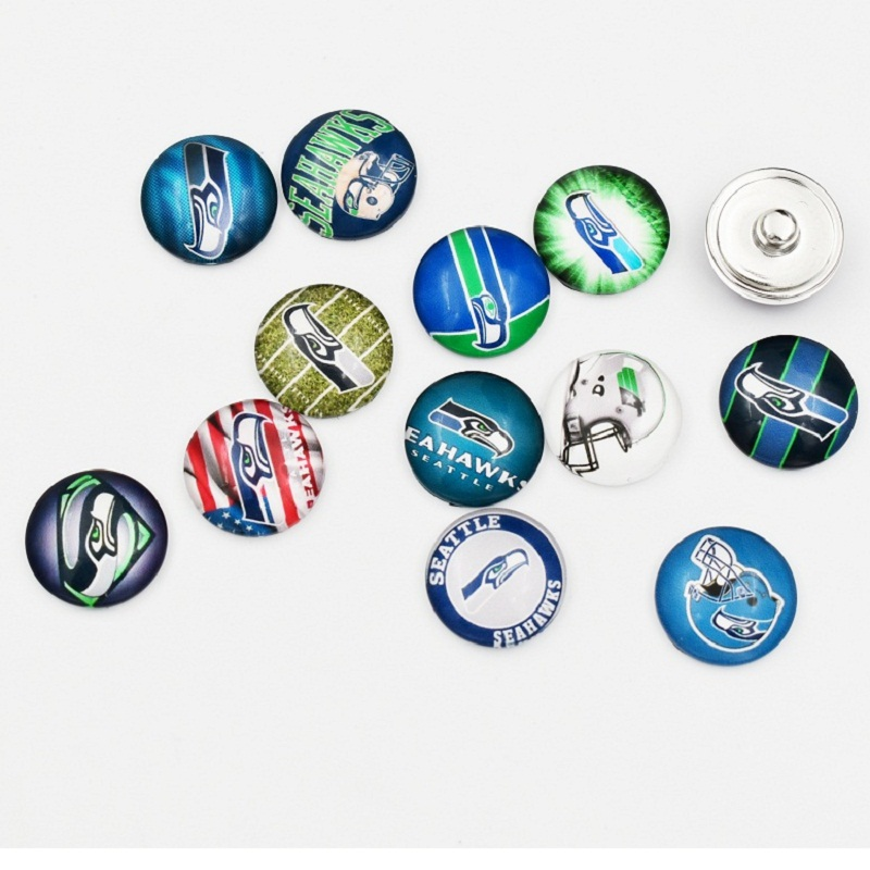 Settle Seahawks Snap Buttons 18MM Round Glass Football Sports Snap Charm Fit Snap Bracelet Necklace(Mixed 50pcs or Single 10pcs
