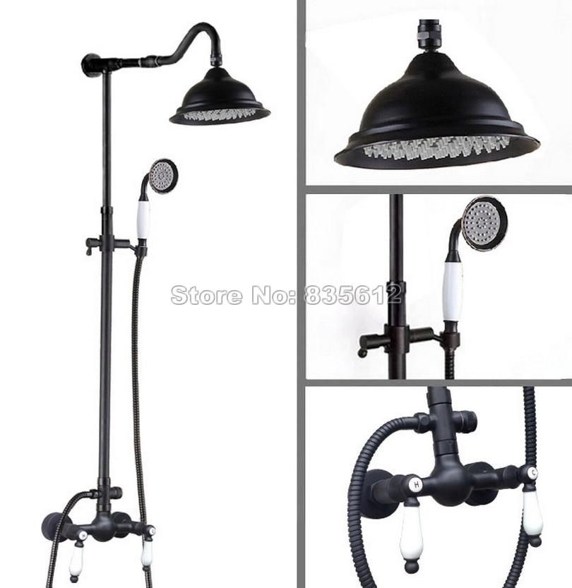 Black Oil Rubbed Bronze Wall Mounted Luxury Bathroom Large Shower Head Rain Shower Faucet Set Dual Handles Mixer tap Wrs772