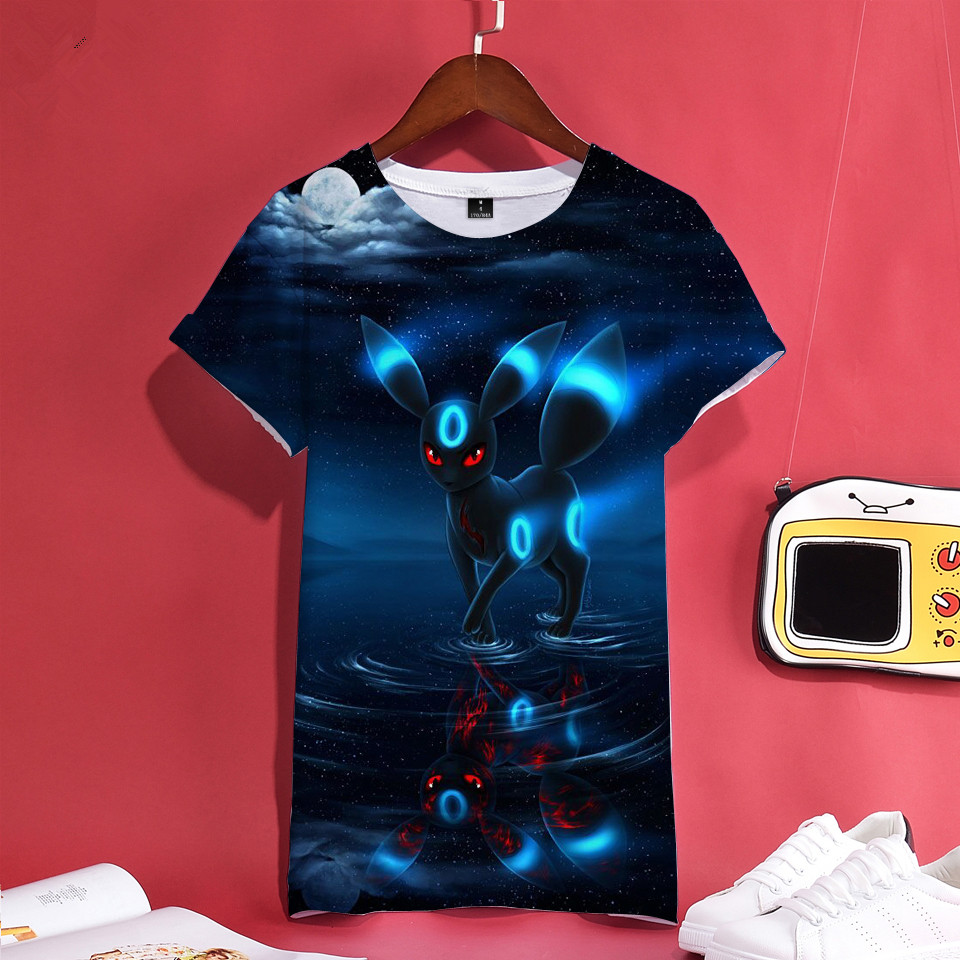 3D Pokemon Umbreon Tshirt   T     Shirt   Men/Women 3D Print Black O-Neck Short Sleeve   T     Shirts   Plus Size Casual   T  -  shirt   Tops Tee