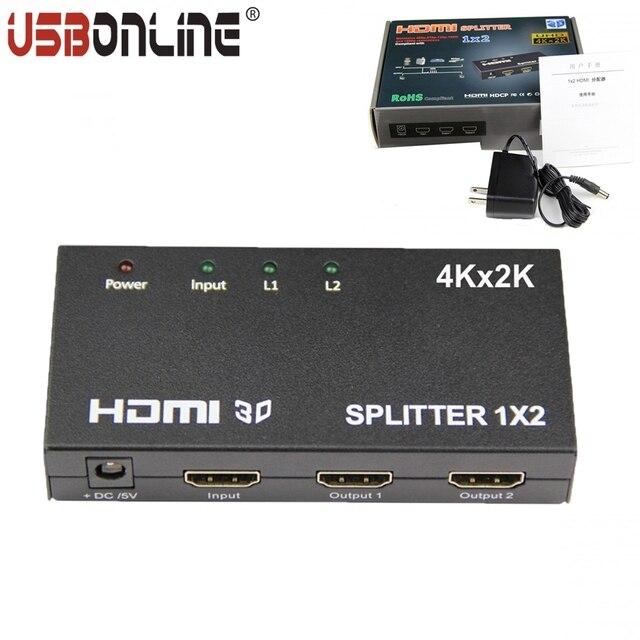-Full HD 1080 P 1X2 HDMI SPlitter HDMI 4 k * 2 k 1 Em 2 De Vídeo interruptor de amplificador com adaptador de energia Suporte HDMI 1.4b versão