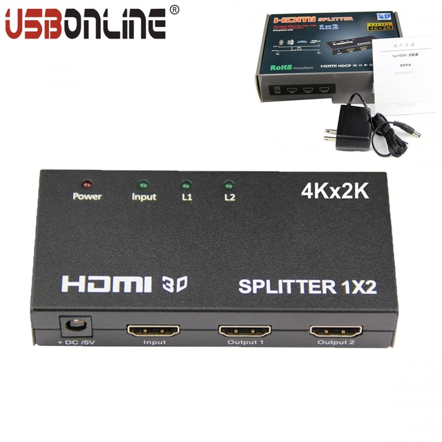 Full-HD 1080P 1X2 HDMI SPlitter 4k*2k 1 In 2 Out Video switch amplifier with power adapter Support HDMI 1.4b version