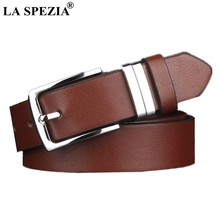 LA SPEZIA Men Belts Casual Pin Buckle Belt Faux Leather Fashion High Quality Classic Solid Brown Square Alloy Male