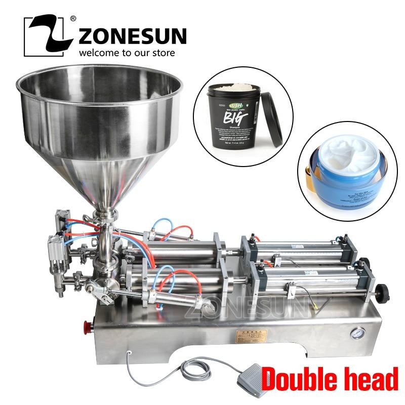 ZONESUN Double Heads Automatic Pneumatic Hopper Cream Shampoo Moisturizer Lotion Cosmetic Oil Honey Food Paste Filling Machine sıcak folyo baskı makinası