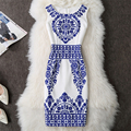 2017 Summer Style Women Fashion Dress Blue And White Porcelain Print Dresses Sleeveless Elegant Bodycon Dress Casual Party Dress