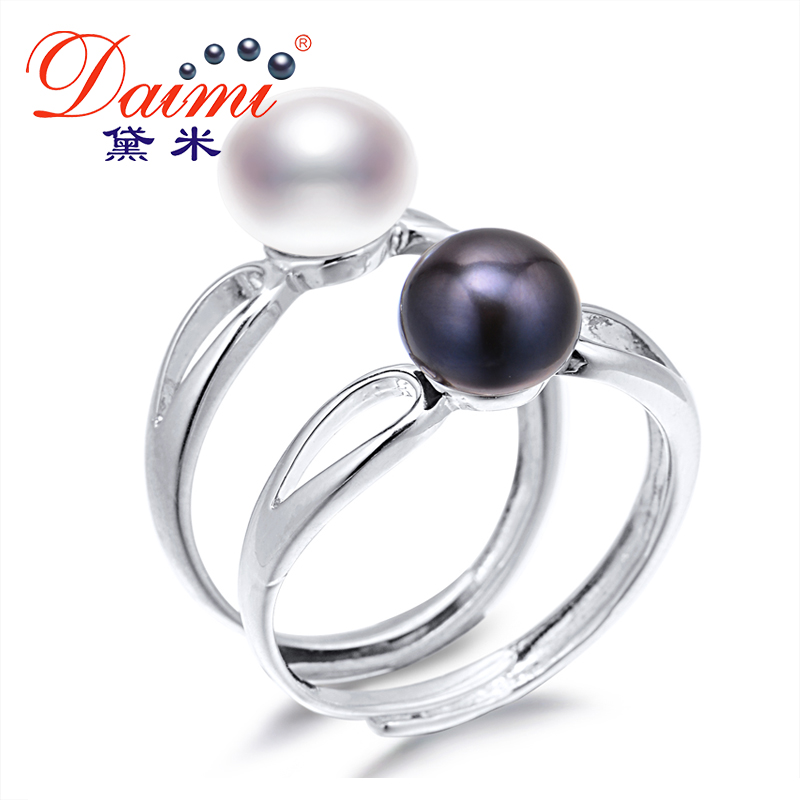DAIMI White Black Ring, New Arrival Jewelry for Women, Freshwater Pearl Ring, High Quality Adjustable.