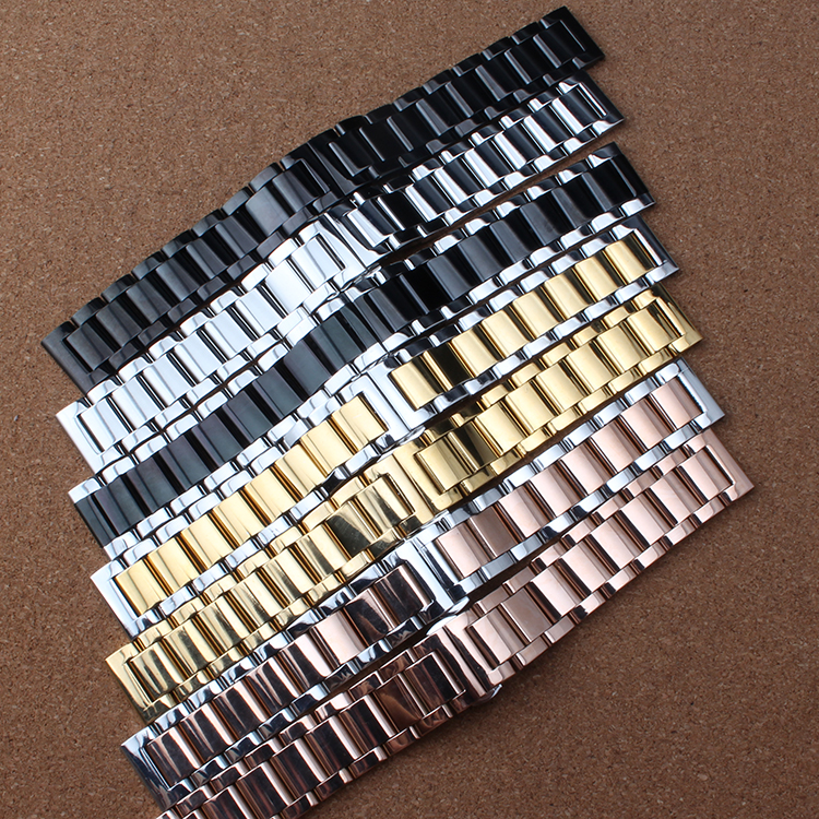 Polished Bright Solid Stainless Steel Watchband butterfly clasp Metal Wristwatches Band rose gold silver watch 20mm 22mm23 24mm tjp luxury brands stainless steel watch clasp 18mm 20mm silver rose gold polished deployment watchband buckle for patek