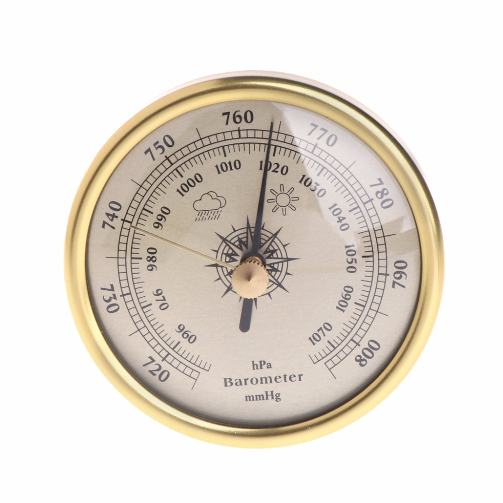 72mm Wall Hanging Barometer 1070hPa Gold Color Round Dial Air Weather Station Tester Tools