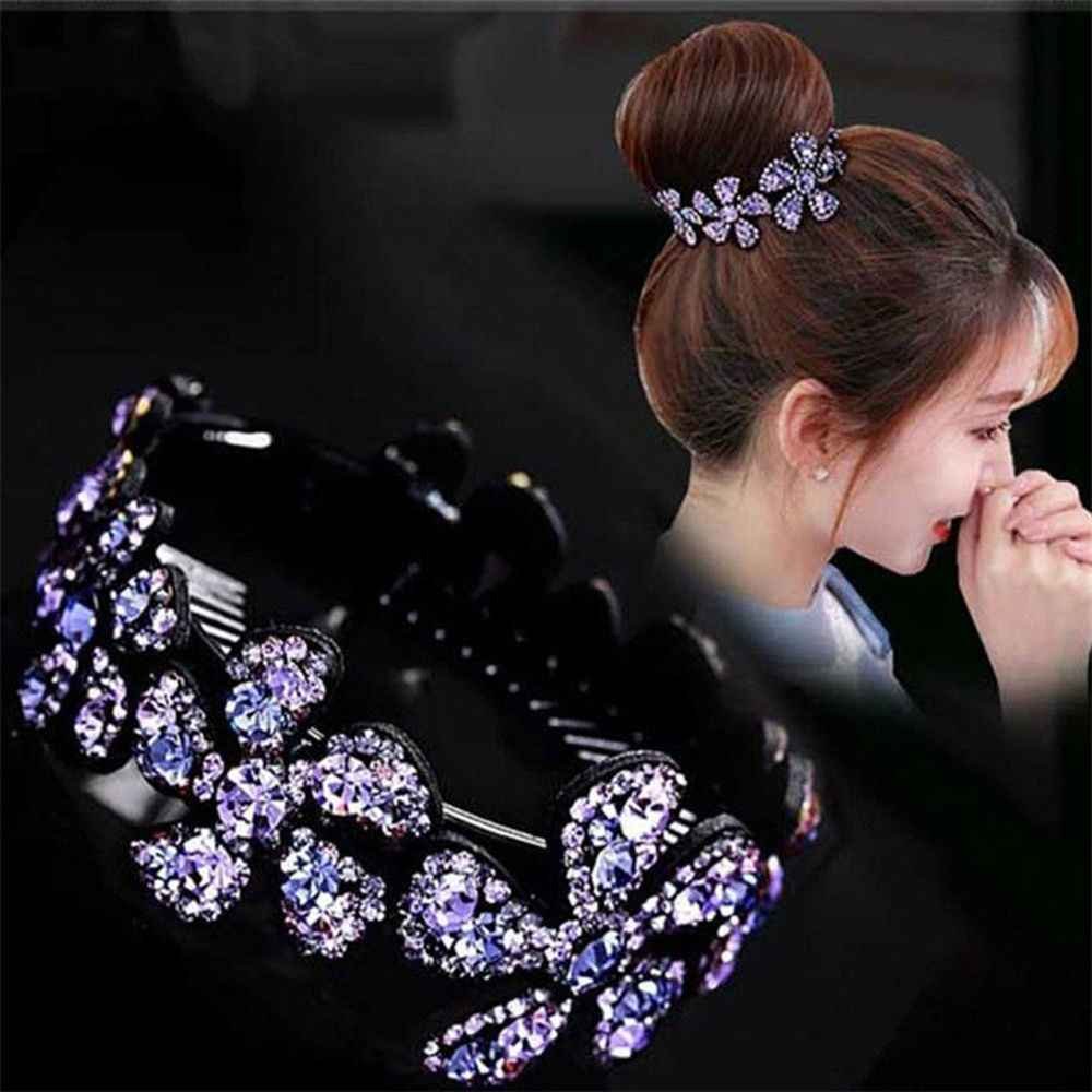 1Pc Rhinestone Flower Hair Clip Fashion Women Hairpin Bobby Pin Hair Bun Wrap Headpiece Hairdress Styling Tools For Girls Lady