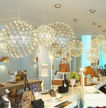 Nordic Ball Restaurant Spark Stainless Steel LED Chandelier Creative Mall Starry Engineering