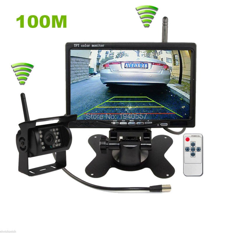 Car Parking Assistance System 100M 2.4 GHz Wireless Car Rear View Camera+ 7 inch TFT LCD Car Monitor Fit for Auto Truck Van Bus image