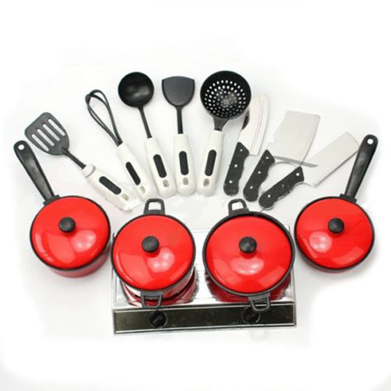 цена Kid Play House Toy Kitchen Utensils Cooking Pots Pans Food Dishes Cookware 13PCS Set