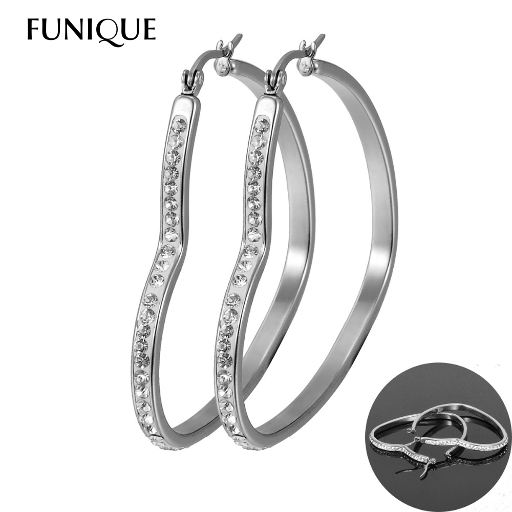 Funique Womens Heart Large Big Hoops Earrings Stainless Steel Cubic  Zirconia Basketball Wives Earrings Statement Poparazzi